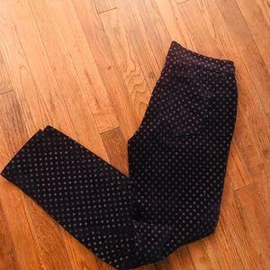 Loft navy blue velvet polka dot modern skinny pant